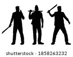 set of thug man with knife... | Shutterstock .eps vector #1858263232