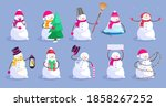 cute happy christmas frosty... | Shutterstock .eps vector #1858267252