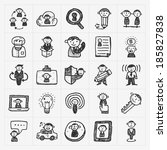 doodle people icons   Shutterstock .eps vector #185827838