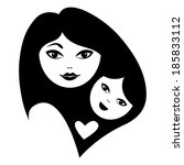 mother and baby silhouettes | Shutterstock .eps vector #185833112