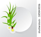 circle frame with grass and... | Shutterstock . vector #185843036
