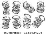 burger ingredient hand drawn... | Shutterstock .eps vector #1858434205