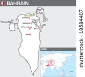 Map of Bahrain - stock vector