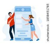 mobile application using man... | Shutterstock .eps vector #1858451785
