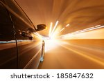 car moving fast in tunne  | Shutterstock . vector #185847632