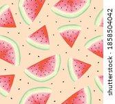 watercolor watermelon slices...   Shutterstock .eps vector #1858504042