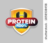 whey protein sign on shield | Shutterstock .eps vector #1858538458