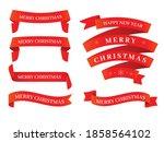 christmas red ribbon set in... | Shutterstock .eps vector #1858564102