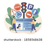 driver license. tiny people... | Shutterstock .eps vector #1858568638
