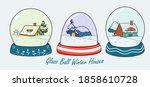 Snow House In Winter Globe...