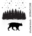 lynx and forest and stars black ... | Shutterstock .eps vector #1858652188
