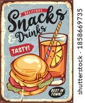 snacks and drinks retro sign... | Shutterstock .eps vector #1858669735