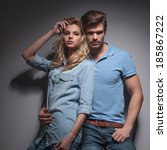 fashion young couple posing for ... | Shutterstock . vector #185867222