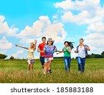 happy group people summer... | Shutterstock . vector #185883188