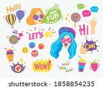 cute and fun hand drawn... | Shutterstock .eps vector #1858854235