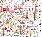 seamless pattern with hand... | Shutterstock . vector #1858864015