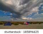 Camping On Beach Before Storm