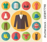 clothing icons set  shopping... | Shutterstock .eps vector #185897798