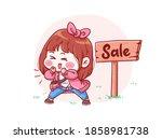 cute and kawaii girl announcing ... | Shutterstock .eps vector #1858981738