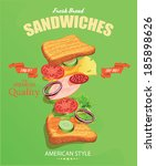Sandwiches. American style. Vector illustration.