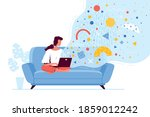 young woman is sitting with a...   Shutterstock .eps vector #1859012242