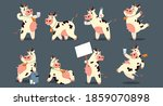 cartoon cow. funny smiling... | Shutterstock .eps vector #1859070898