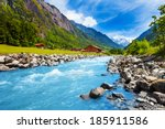 Swiss Landscape With River...