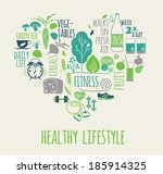 healthy lifestyle icons set in... | Shutterstock .eps vector #185914325