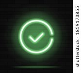 green check mark neon sign... | Shutterstock .eps vector #1859173855