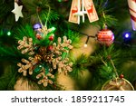 christmas tree decorations and... | Shutterstock . vector #1859211745