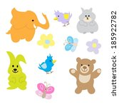 baby  animals set | Shutterstock .eps vector #185922782