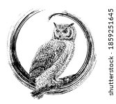 owl in a circle. the... | Shutterstock .eps vector #1859251645