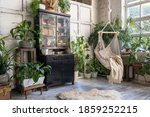 Small photo of Cozy rope swing in living room with green houseplants in flower pot and black vintage chest of drawers. Comfort room with furniture in house with modern interior design