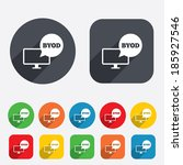 byod sign icon. bring your own... | Shutterstock . vector #185927546