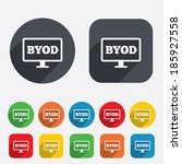 byod sign icon. bring your own... | Shutterstock . vector #185927558