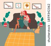 two girls in their house are...   Shutterstock .eps vector #1859342362
