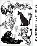 hand drawn cat vector set | Shutterstock .eps vector #185948402