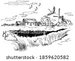 green grass field on small... | Shutterstock .eps vector #1859620582