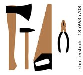carpentry tools  ax  pliers ... | Shutterstock .eps vector #1859635708
