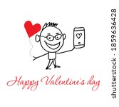 a joyous guy in love received a ... | Shutterstock .eps vector #1859636428