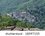 Small photo of View of Arquata del Tronto (Ascoli Piceno, Marche, Italy) from the Salaria road at summer