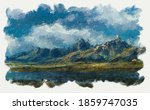 Mountain Landscape With A Small ...