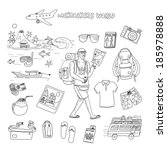 Backpackers World Travel Doodle Set Vector Stock Vector (Royalty Free)  185978888 - Shutterstock b24df34aa6