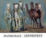 Horses Running Galloping Oil On ...