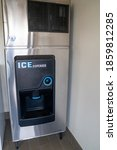 Small photo of Dillon, Montana - June 30, 2020: Portrait view of an ice dispenser machine in a hotel