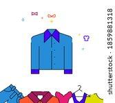 blue men shirt filled line icon ...
