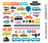 transportation icons isolated... | Shutterstock . vector #186002072