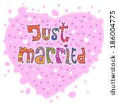 just married. multicolored text ... | Shutterstock .eps vector #186004775