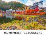 Japan. Autumn Panorama Of...