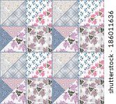patchwork seamless floral... | Shutterstock . vector #186011636